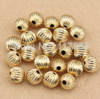 Wholesale Gold Lantern Spacer Beads - Wholesale 20beads lot high quality pure copper rolled 14k gold filled 3-10mm spacer round lantern Loose beads jewelry making