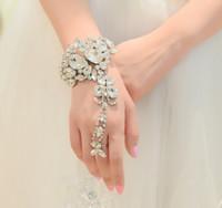 Wholesale Hand Chain Bride Bracelet - 2014 Bride Hand Catenary Suit White Diamond Wedding Ring Back Wedding Dress Wedding Accessories Chain Bracelet Accessories