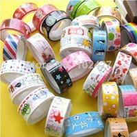 Wholesale free scrapbooking stickers - 10X 1.5X250cm Rolls Mixed Cartoon Deco Washi DIY Tape Adhesive Scrapbooking Sticker for Student Free Shipping