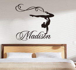 Wholesale Black Modern Dance - Free Shipping Personalized Girl Name Gymnast Gymnastics Dance Dancing Vinyl Wall Decal Sticker Wall Stickers For Kids Rooms(76x71CM)