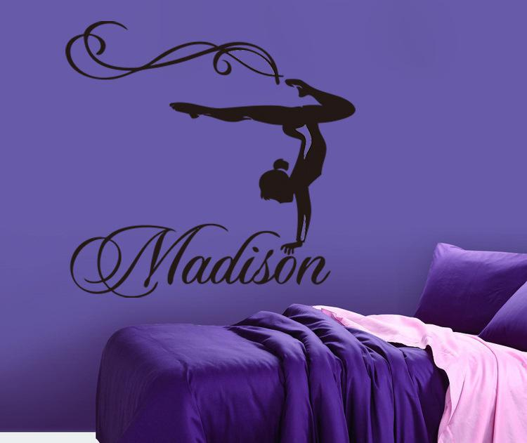 Personalized Girl Name Gymnast Gymnastics Dance Dancing Vinyl Wall Decal Sticker Wall Stickers For Kids Rooms76x71CM