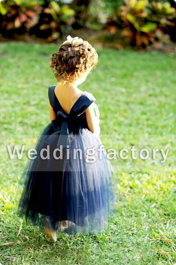 جميل تول زهرة فتاة اللباس نمط الأزرق الداكن خط الحبيب لينة مع الأشرطة الكاحل طول الفتيات مهرجان اللباس