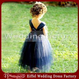 Wholesale Grape Pattern - Lovely Tulle Flower Girl Dress Pattern Navy Blue A Line Soft Sweetheart with Straps Ankle Length Girls Festival Dress