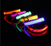 Wholesale Cheap Pet Leads - New Cheap LED Flash Cat Dog Collar Polyester Collars Light Emitting Pet Toys Supplies Free Shipping