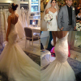Wholesale Trumpet Plus Size Wedding - 2016 Backless Wedding Dresses Sexy Lace Appliqued V Neck Beaded Beach Wedding Gowns Spaghetti Straps Plus Size Mermaid Beach Custom Made