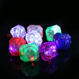 Wholesale Disco Flash Led Light - Large Diamond Ring Luminous LED Rings Emitting Products LED Flashing Light Ring Party Disco Finger Lights Halloween Christmas Festival Light