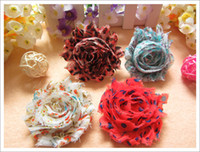 Wholesale Zebra Headband Bow - 24pcs zebra shabby chiffon ruffles flower baby hair flower chiffon lace foldover printing flower for headband