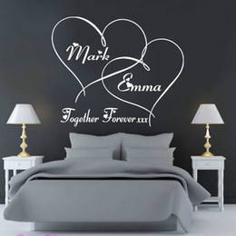 Wholesale Heart Decals - Free Shipping Customer-made Personalised Together forever hearts Bedroom Wall Art Sticker, Decal, Mural for lovers' room