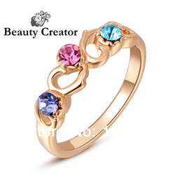 Wholesale Jewelry Young - 204 Hot trendy young quality genuine austrian crystal cz rose gold plated fashion rings jewelry women colorful AAA zircon gift