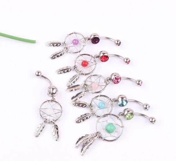New Arrival 316L Surgical Steel Crystal Gem Dream Catcher Belly Navel Barbell Bar Ring Body Jewelry Piercing