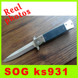 Wholesale Knife Photos - Camping Real photos SOG KS931A Hot Outdoor Fast Open 5CR13 56HRC pocket knife Utility outdoor gear knife best christmas gift L
