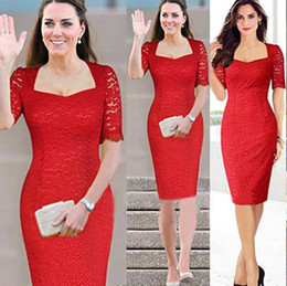 Wholesale Wholesale Half Pencils - Free Shipping Kate Middleton Lace dress Women's Fashion Square neck Half Sleeve Pencil Cocktail Bodycon Party Dress free shipping DK3001MX