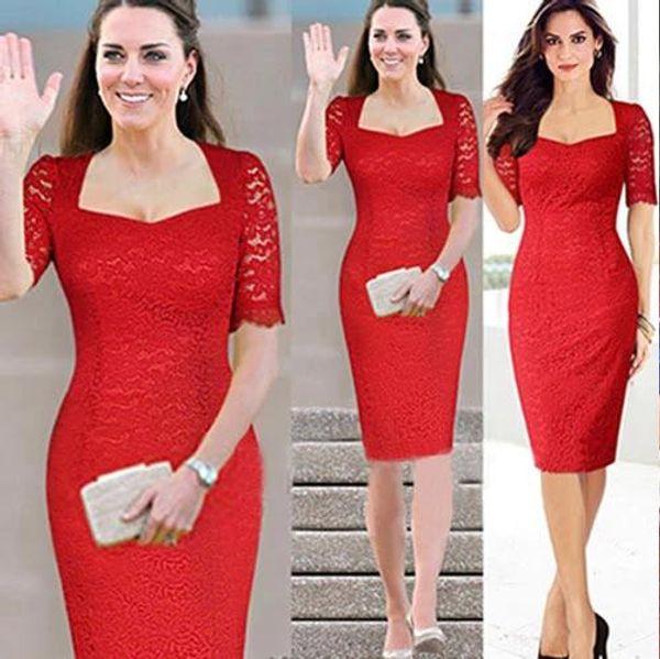 M-10XL Plus Sizes Kate Middleton Lace dress Womens Fashion Square neck Half Sleeve Pencil Cocktail Bodycon Party Dress free shipping DK007MF