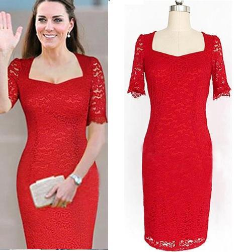 2018 Women Summer Red White Vintage Lace Bodycon Party Vestidos Dresses Evening Business Pencil Dress Princess Kate M 10xl From Andrewknight007