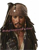 halloween kostümleri jack toptan satış-Ücretsiz Kargo 1 ADET Korsanları Karayip Jack Cosplay Peruk Mardi Gras Dans Maskeli Cadılar Bayramı Kostüm Aksesuarları