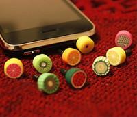 Wholesale Iphone 4s Jack - Anti Dust plug fruit dust Cap for iphone 5 4s for 3.5mm plug phone