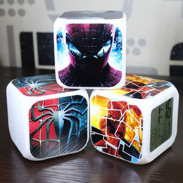 Wholesale Spider Man Digital Alarm Clock - 20pcs lot New Spider Man LED 7 Colors Change Digital Alarm Clock Thermometer Night Colorful Glowing Clock
