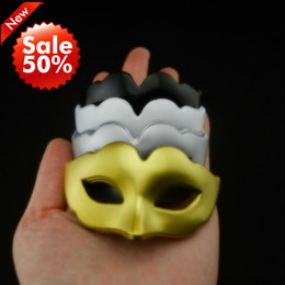 Wholesale White Sale Masquerade Mask - On Sale supper mini Mask cute fox mask black white gold silver venetian masquerade party decoration Halloween carnival mardi gras gift