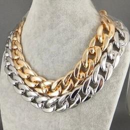 Wholesale Twisted Chunky Choker Necklace - Fashion Coarse Twisted Link Chain Chunky Rose Gold Ladies' Statement Choker Necklace Punk Jewelry 12pcs lot
