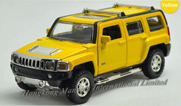 jeep diecast model cars Canada - 1:32 Alloy Diecast Car Model For Hummer H3 Toy Collection Power Pull Back With Sound&Light - Red   Yellow   Black