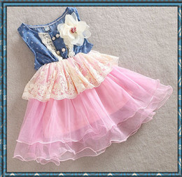 Wholesale Blue Dot Skirt Girls - 2016 New summer girls denim lace dress skirt girls bow tutu dresses girls lace TUTU blue dresses princess denim wave dress , Melee