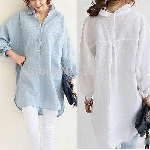 2017 Fashion Womens Long Sleeve Linen Button Down Collar Shirt ...