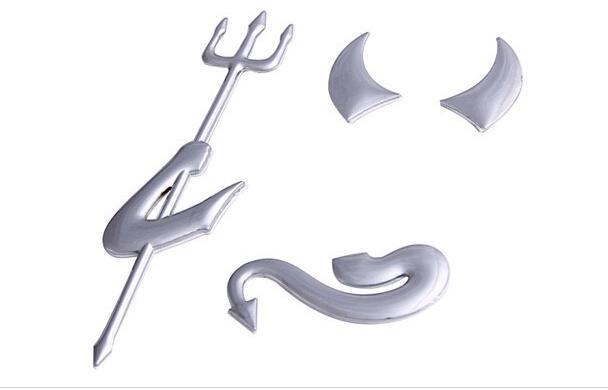 50 шт./лот Золотое серебро автомобиль 3D хром Дьявол наклейка грузовик Демон наклейки эмблема логотип бумаги автомобильные аксессуары Бесплатная доставка