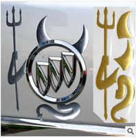 Wholesale Car Emblem Logo Devil - 50Pcs Lot Golden & Silver car 3D Chrome Devil Decal Truck Demon Stickers Emblem Logo Paper Car Accessories Free Shipping