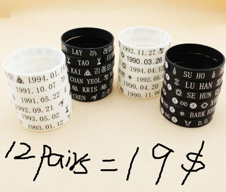 2019 Wholesale New KPOP EXO Silicone Bracelet Wristband White And Black  From Ceshi88 733721a2f06e