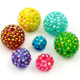 Wholesale Bead Craft Ball - 12mm 14mm 16mm 18mm 20mm Round 5 Size 15 Colours U-Pick Chunky Resin Rhinestone Beads Bling Resin Ball Beads for Jewelry & DIY Craft