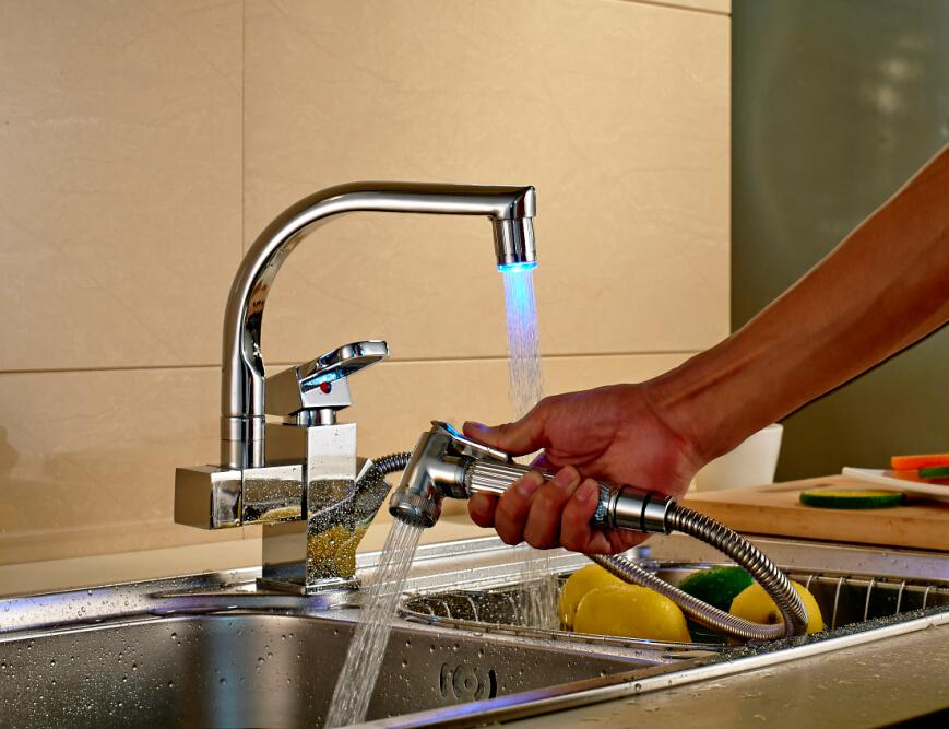 LED Color Changing Chrome Kitchen Faucet Pull Out Spout Mixer Tap ...