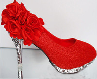 Wholesale Diamond Flowers Wedding Shoes - New arrive Sexy handmade flower diamond round head high heel shoes evening party bridal wedding shoes yzs168