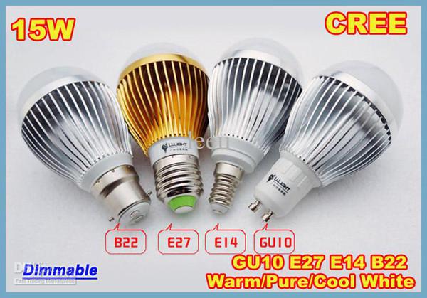 Vendita al dettaglio libera della sfera della bolla dimmerabile lampadina 85-265V di 9W 12W 15W E14 E27 B22 GU10 ad alta potenza del globo illuminazione a LED luce