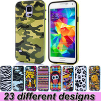 Wholesale Design Case For Galaxy S3 - 23 Different Design Cell Phone Cases For iPhone 5 5S 4 4S Samsung Galaxy S5 S4 S3 Note 3 Shock Proof Cases Hybrid TPU Cover PC Bumper 2 in 1