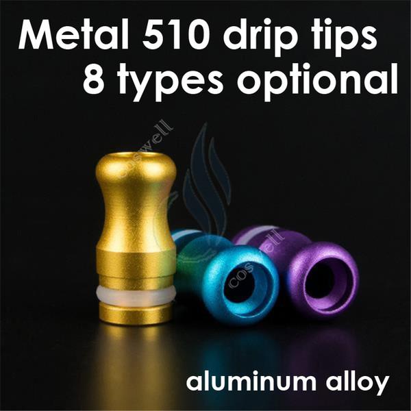 Puntas de metal para goteo de boquillas de aleación de aluminio eGo 510 para cigarrillos electrónicos Protank CE4 CE5 MT3 modificador de vivi nova mods atomizador