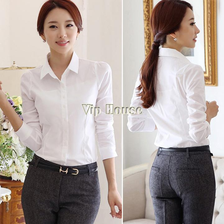 White Blouses Women Work Wear Sheer Shirts Cardigan European Full ...