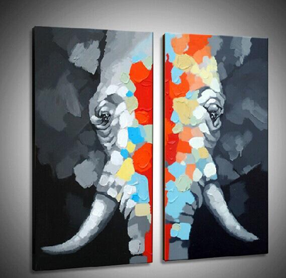 Grande peinture à l'huile d'éléphant peinte à la main sur la toile Grande peinture d'art mural à animaux pour la décoration à la maison 2pans