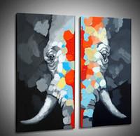 óleo, pintura, elefante venda por atacado-Pintados À Mão Grande Elefante Pintado À Mão Pintura A Óleo sobre Telas de Animais de Parede Grande Arte para a Decoração Para Casa 2 Painéis