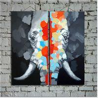 Wholesale Hand Painted Elephant - Original Art Hand Painted Elephant Painting on Canvas Animal Wall Art Paints for Home and Business Decoration 2Panels