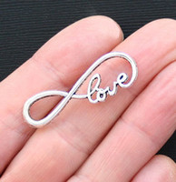 "Wholesale Love Connector Silver - FREE SHIPPING, SALE 50 pcs of 15mmx39mm Antique Silver   Bronze letter ""8"" Infinity LOVE Connector Charm Love Infinite Pendant A701"