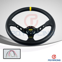 "Wholesale 14 Inch Steering Wheels - 14"" 350MM OMP Steering Wheel PVC Leather Steering Wheel 14 Inch OMP Steering Wheels Deep Corn Dish Wholesale and Retailer"