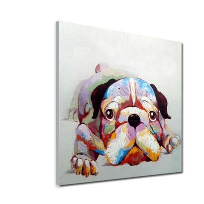 Lovely Puppy Dog Painting on Canvas Hand Painted Animal Art for Home Wall Decoration Family Memember No Frame