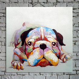 $enCountryForm.capitalKeyWord Canada - Lovely Puppy Dog Painting on Canvas Hand Painted Animal Art for Home Wall Decoration Family Memember 1PC No Frame