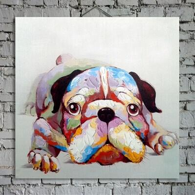 Lovely Puppy Dog Painting on Canvas Hand Painted Animal Art for Home Wall Decoration Family Memember 1PC No Frame