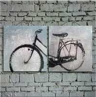 Hand Painted Abstract Bicycle Painting Oil Wall Art for Home...