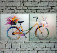 Wholesale Cartoon Flower Pictures - Handpainted Cartoon Oil Painting on Canvas Beautiful Bicycle Art with Flowers and Teddy Bear for Wall Decoration in Girl's Room 2PCS