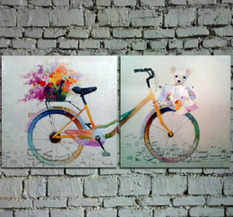 Wholesale Two Panel Canvas Paintings - Handpainted Cartoon Oil Painting on Canvas Beautiful Bicycle Art with Flowers and Teddy Bear for Wall Decoration in Girl's Room 2PCS