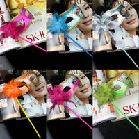Wholesale Mix Order Halloween Mask - 2015 In Stock Mix Order 5 pcs Flower Painting Shimmering Powder With Stick Gold Edge Halloween Party Masks Fashion Sharp Masquerade Mask