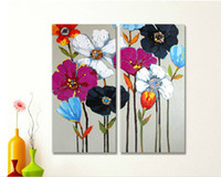 Wholesale handmade wall decor painting for sale - Handmade Beautiful Flowers Picture Painting on Canvas Two Picture Combined Decor Paints for Home Wall Decoration in Living Room or Bedroom