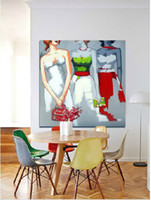 Wholesale drawing figures resale online - Hand Painted Decorated Figure Oil Painting on Canvas Three Girls Draw Paints for Home Wall Decoration in Dining Room